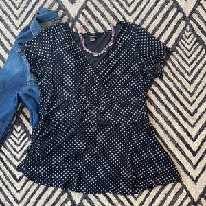 Torrid Black with White Polkadot Lined Blouse 1x 1